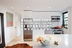 Mario and Joe geared up for a full renovation in Brooklyn's Clinton Hill Co-ops that would bring walls down and open the space up for a new stylish space. Kitchen Counter Stools, Kitchen Reno, New Kitchen, Small Gallery Kitchen, Fisher And Paykel Fridge, Parquet Tiles, Clinton Hill, Big Closets, Contemporary Cabinets