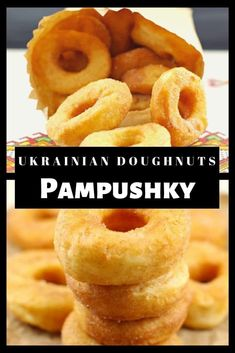 These Ukrainian doughnuts (Pampushky) are a light and airy raised doughnut without filling. These tr Baking Recipes, Healthy Recipes, Healthy Food, Donut Recipes, Bread Recipes, Vegetarian Recipes, Ukrainian Recipes, Ukrainian Desserts, Ukrainian Food