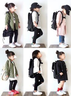 #春コーデ まとめてみたら、リュックと黒スキニーとスタンスミスばかり ◟̽◞̽  ༘* Twin Outfits, Little Girl Outfits, Little Girl Fashion, Toddler Outfits, Kids Outfits, Cool Outfits, Cute Fashion, Kids Fashion, Japanese Kids
