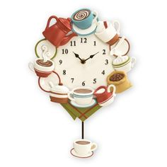 Decorate your kitchen with this beautiful Kitchen Wall Decor Coffee Cup Pendulum Wall Clock. Kitchen Wall Decor Coffee Cup Pendulum Wall Clock Features pendulum that hangs below. Coffee Clock, Coffee Cups, Kitchen Wall Clocks, Coffee Kitchen Decor, Pause Café, Pendulum Wall Clock, Collections Etc, Vintage Coffee, Cool House Designs