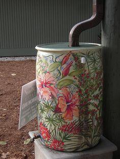Love the idea of turning a rain barrel into art.