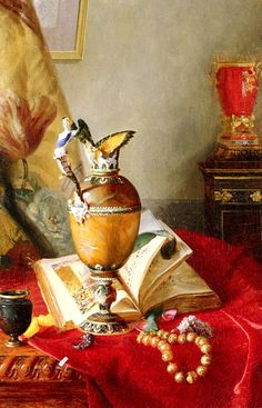 A Still Life With Urns And Illuminated Manuscript On A Draped Table : Blaise Alexandre Desgoffe