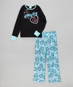 Another great find on #zulily! Black & Blue 'Sweet' Pajama Set - Girls by PJ & Me #zulilyfinds