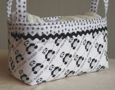 """FABRIC BIN Basket PANDA BEARS Paw Prints Nursery Large by lucky17; """"Babies Are Hopes And Dreams Wrapped Up In Love"""".♥ I love this fabric, but it's no longer available. We could find the little paw prints I'm sure. cute."""
