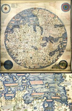 This is an 1804 copy of perhaps the first 'modern' world map, made by the Venetian monk Fra Mauro in about 1450. It points south because 15th-century compasses were south-pointing. It shows the Portuguese discoveries in Africa and questioned the authority of medieval and classical sources. Intended for display in Venice, it emphasizes the feats of Marco Polo. The British East India Company commissioned this copy, thus implying that Britain was heir to the Portuguese empire.