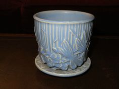 "McCoy dragonfly flowerpot w/ saucer 3 1/2"" pastel matte blue vintage pottery"