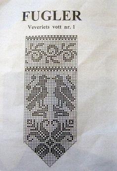 bird chart for Norwegian mittens Norwegian Knitting, Love Knitting, Fair Isle Knitting, Knitting Socks, Filet Crochet Charts, Knitting Charts, Knitting Patterns, Knitted Mittens Pattern, Crochet Mittens