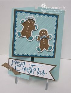 Christmas card...blues for card brown for gingerbread men...two happy cookies with sweer decorations...Stampin Up...