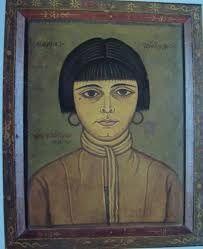 """ΦΩΤΗΣ ΚΟΝΤΟΓΛΟΥ: Η πολυαγαπημένη κόρη του Φωτίου, Δεσπούλα, εμπνέει και απεικονίζεται πολύ συχνά από τον ζωγράφο άλλες φορές σε πειραματισμούς της τεχνικής φαγιούμ και άλλοτε πάνω στον καμβά υπερβαίνοντας τα διδάγματα της βυζαντινής ζωγραφικής που πρόβαλλε στην Ελλάδα από τον Μεσοπόλεμο έως τη δεκαετία του 1960.""""Η παρούσα ζωγραφία εφιλοτεχνήθη χειρί Φωτίου Κόντογλου τού εκ Κυδωνιών τής Μικράς Ασίας"""" Byzantine Art, Gustav Klimt, Mosaic Art, Fresco, Baseball Cards, Drawings, Painting, Fresh, Painting Art"""