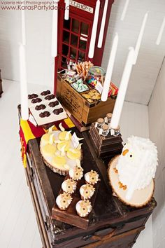 Harry Potter themed birthday party idea via Karas Party Ideas | KarasPartyIdeas.com favorte things are the owl cake and cupcakes. lots of cute easy ideas, and lots of over the top you've-got-to-be-kidding ideas.