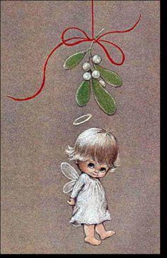 Little Christmas Angel. Christmas Rock, Little Christmas, Christmas Angels, Christmas Projects, Christmas Thoughts, Merry Christmas, Vintage Christmas Cards, Christmas Pictures, Vintage Cards