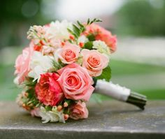 Wedding Flowers Full of romance, this bridal bouquet has the best mix of blooms in romantic coral, blush, and white. - Get inspired to plan the romantic coral wedding of your dreams. Mod Wedding, Floral Wedding, Wedding Colors, Trendy Wedding, Wedding Coral, Cake Wedding, Wedding Stage, Salmon Wedding, Wedding Ceremony