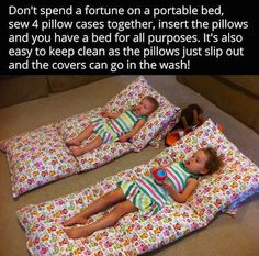 Have extra pillows that are taking up space and sheets that you don't use anymore? Consider doing this with them! Air Mattress, Making Life Easier, Guest Bed, How To Make Bed, Kid Beds, Simple Bed, Easy Bed, Cat Crafts, Crafts For Kids