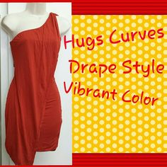 Rustic Orange draped one shoulder dress In good condition Beautiful dress perfect for any event Dresses One Shoulder