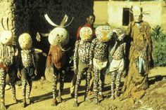 Members of a Dodo group prepare for their performance. Dylua peoples, Bobo-Dioulasso, Burkina Faso Photograph by RenÈ Bravmann, 1972 Out Of Africa, West Africa, African Masks, African Art, African Pottery, Pagan Festivals, Dunhuang, Traditional African Clothing, Spiritual Manifestation