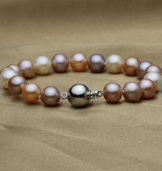 Handmade Real Pearl Jewelry Multicolor AAA Round Genuine Freshwater Pearl Bracelet