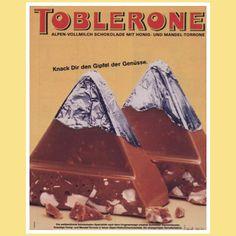 """Unvergessen bleibt der Slogan """"Knackt dir den Gipfel der Genüsse"""", mit dem die Werbung auf appetitlichste Weise erklärt, wie TOBLERONE am besten gegessen wird."""