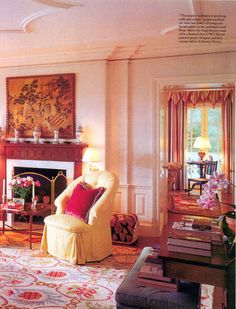 Needlepoint rugs, black needlepoint rugs for sale, needlepoint rug, floral needlepoint rugs, geometric needlepoint rugs Traditional Fireplace, Traditional Interior, Tan Leather Armchair, Devine Design, White Fireplace, Chinoiserie Wallpaper, Interior Decorating, Interior Design, Gold Walls