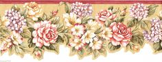 Victorian Rose Border | Victorian Red Burgundy Lavender Flower Floral Rose Laser Cut Wall ...