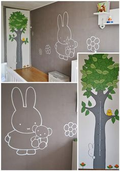 Nijntje en familie-stamboom in Nijntjestijl | muurschildering | babykamer | www.groeneballon.nl | Den Haag H&m Baby, Baby Kids, Nursery Decals, Belly Painting, Miffy, Baby On The Way, Baby Room, Kids Room, Wall Art
