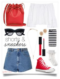 """shorts and sneakers ❤️"" by laurie-christina ❤ liked on Polyvore featuring Glamorous, Carolina Herrera, Converse, Monsoon, Mansur Gavriel, Carolina Bucci, Kate Spade and Gucci"