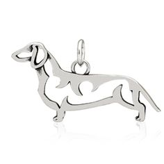 ur Smooth Dachshund body pendant carries its head held high with an alert, pleasant expression to illustrate their bold and confident breed nature. The details of this Smooth coat Doxie charm show the outline of a dog who could go to ground and dig! Look at our Smooth Dachshund's prominent chest, muscular body and paddle-shape front paws.