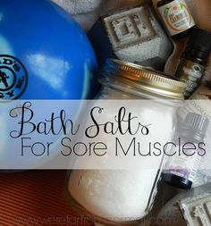 We recently set up a weight bench in our basement… and the teenager started running track… The results? Lots of sore muscles in my house (not mine… I haven't been that motivated). Anthony discovered his love for an Epsom salt bath during swim season when he totally overworked his arms and was in a lot …