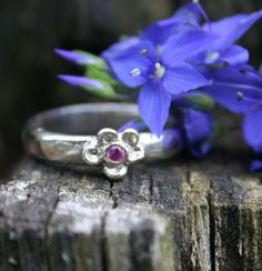 Forget Me Not Ring with Faceted Birthstone Love and by labelledame, $65.00