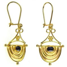 Greek handmade earrings in gold with sapphire. See a full collection of gold and silver earrings with sapphires at Athena's Treasures. White Gold Jewelry, Copper Jewelry, Nice Jewelry, Jewelry Design, Earrings Handmade, Handmade Jewelry, Handmade Silver, Greek Jewelry, Sapphire Jewelry
