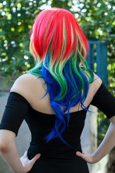 20 OFF SALE Parrot / Rainbow / Long Curly Layered by ExandOh, $102.00