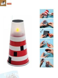 Lighthouse made from plastic cups! Would be darling as cheap, DIY table decor for a nautical party (of course you should only use fake candles! Vbs Crafts, Church Crafts, Bible Crafts, Camping Crafts, Diy And Crafts, Crafts For Kids, Arts And Crafts, Kids Diy, Nautical Party