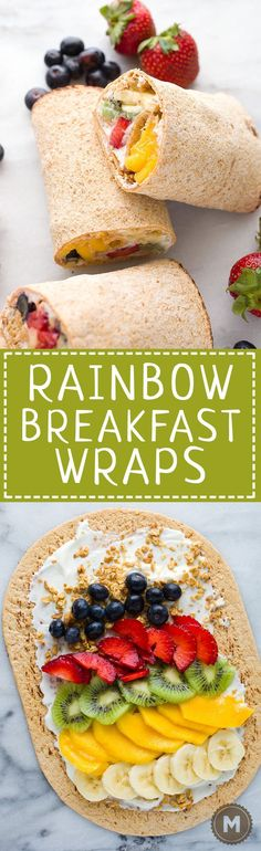 Rainbow Breakfast Wraps:  These quick wraps are so quick to make an a perfect way to start the day. Packed with granola, Greek yogurt, and colorful fruits and stuffed inside a flatbread. #sponsored | http://macheesmo.com