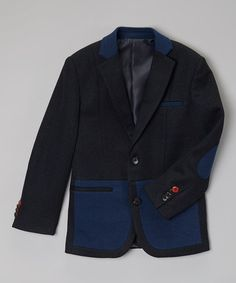 Navy & Blue Blazer - Infant, Toddler & Boys #zulily #zulilyfinds