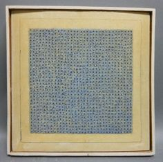 "Agnes Martin (Canadian/American, 1912-2004) Blue Flower, 1962. Titled, signed, and dated ""Blue Flower/a. martin/62"" on the reverse, identified on the reverse by labels from Robert Elkon Gallery, New York, the Institute of Contemporary Art, University of Pennsylvania, and an unattributed museum. Oil, glue, nails, and canvas collage on canvas stretched over panel, 11 5/8 x 11 3/8 in., in an integral frame."