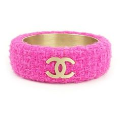 Pre-owned Chanel Gold Tone Metal Coco Mark Tweed Pink Bracelet Bangle ($460) ❤ liked on Polyvore featuring jewelry, bracelets, chanel, hinged bracelet, chanel jewelry, bangle bracelet and holiday jewelry