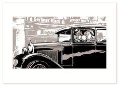 """Ein Motiv aus Arne Jyschs """"Der nasse Fisch"""".  In einer Kickstarter-Kampagne exklusiv als Siebdruck zu bekommen.  #print #comic #arnejysch #car #historisch #art #vintage #drawing #siebdruck #crowdfunding #kickstarter #projects #painting #wall #illustration #prints #graphic #artwork #zeichnen #poster"""