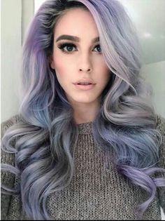 Grey purple pink pastel hair color