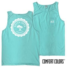 Sorority Lagoon Blue Comfort Colors Pocket Tank