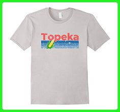 Mens Distressed Retro Corn - Topeka KS T-Shirt Large Silver - Retro shirts (*Amazon Partner-Link)