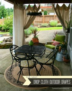 Drop Cloth Patio Outdoor Curtains - Drop Cloth Drapes - Patio Drapes.  #dropcloth TodaysCreativeBlog.net