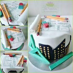 Architecture cake - cake by Jully Fondantartas - CakesDecor Birthday Cake Cookies, Fondant Cakes, Cupcake Cakes, Engineering Cake, Architecture Cake, Building Cake, Dad Cake, Cookie Recipes From Scratch, Bolo Cake