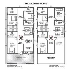 Duplex House Plans, Dream House Plans, South Facing House, Face Home, Modern Small House Design, Garage Dimensions, Townhouse Designs, Cad File, Beautiful House Plans
