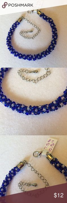 "Handmade OOAK Braided Blue/Clear SP Adj. Bracelet Gorgeous blue and iridescent clear seed beads are hand braided with SP findings.  This bracelet is totally adjustable from 7.5"" to 10.5"" with the extender chain and lobster clasp.  Thanks for taking a look! Handmade Jewelry Bracelets"