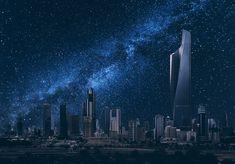 Kuwait City under the Stars Boat Illustration, Building Illustration, Black Building, Tower Block, Fantasy City, Tokyo Tower, Dubai City, Futuristic City, Night Background