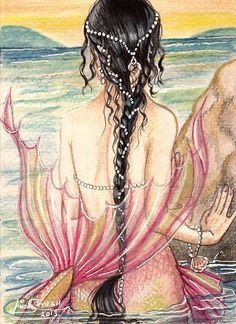 Mermaid gazing out over the water towards shore, dreaming of what it must be like to walk on land with humans...