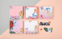 Alice Pink memo pad, memoletter writing, littleleftylou, stationery, writing pad, letter paper, letter stationary, memopad Looking for wonderland curiouser and curiouser - materials : paper - size : 90 x 90mm, 100 pages
