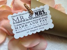 50 Wedding Send Off/ Rose Petal Toss Poem Tags by ourlittleprints, $18.00