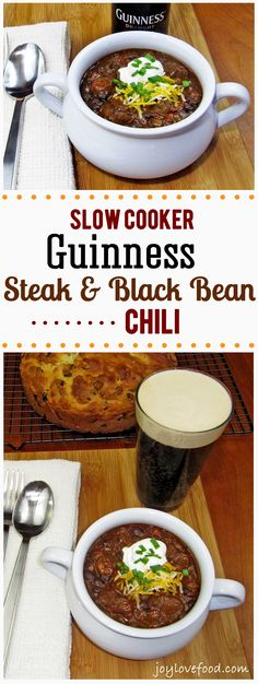 This delicious and hearty Slow Cooker Guinness Steak and Black Bean Chili is perfect anytime you're craving some warm and satisfying comfort food. Slow Cooker Chili, Slow Cooker Recipes, Crockpot Recipes, Cooking Recipes, Cooking Tips, Black Bean Chili, No Bean Chili, Black Beans, Slow Cooking