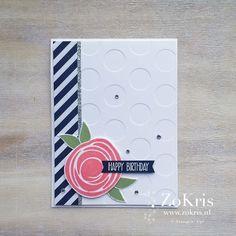 handnade card from ZoKris: Global Design Project # 040 ... Swirly Bird flower ... Big Dot embossing folder texture ... graphic appeal ...