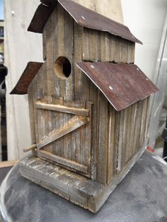 Barn birdhouse, old sawmill, rustic birdhouse, functional birdhouse, folkart, antique ceiling tin, old west birdhouse